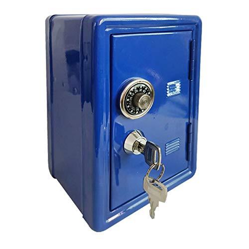 QiKun-Home Caja de Seguro para el hogar Mini Caja de Metal Segura Creativa Hucha Clave Seguro gabinete decoración de Escritorio Azul