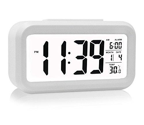 Reloj despertador, despertador digital con fecha y temperatura de visualización...