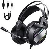 BlueFire - Auriculares para videojuegos con micrófono antirruido ajustable, LED, control de volumen, compatibilidad para PlayStation5, PC/Switch/MAC/PSP/Xbox One, color negro