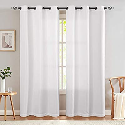 """White Curtains Linen Textured for Living Room Drapes for Bedroom 40"""" Wx84 L Light Reducing Window Treatment Set 2 Panels Grommet Top, 1 Pair"""