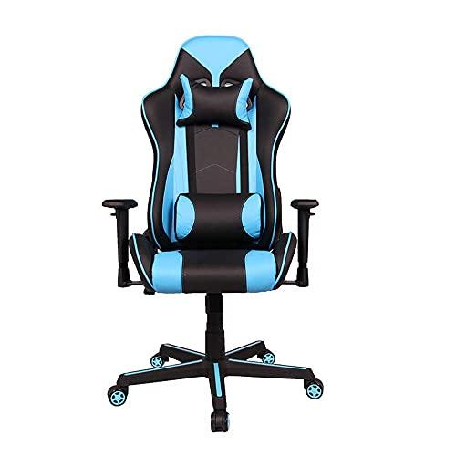 HaoLi E-Sports Gaming Stuhl, Computerstuhl mit Verstellbarer Armlehne Komfortabler Verstellbarer drehbarer ergonomischer Bürostuhl mit Kopfstütze und Lendenwirbelstützkissen