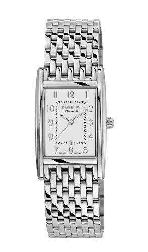 Dugena Damen Quarz-Armbanduhr, Saphirglas, Edelstahlarmband, Quadra Artdéco, Silber, 7000124