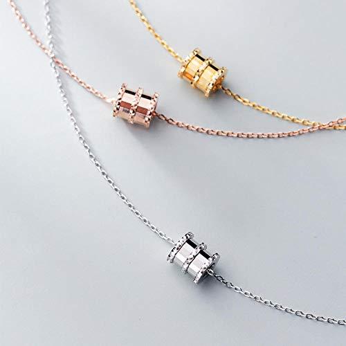 JFHGNJ Authentieke 925 sterling zilver ronde buis bedelhanger hanger ketting voor vrouwen mode echte zilver Choker voor partij sieraden
