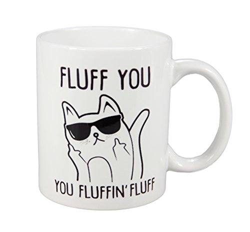 Fluff You You Fluffin' Fluff Cat with Sunglass Middle Finger Funny Ceramic Coffee Mug Teacup 11oz White