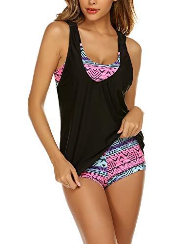UNibelle Damen Summer Tankinis Set 3-Teilig Bademode Badeshirt Sport Fitness 3-Teilig Beachwear Tankinis für Damen