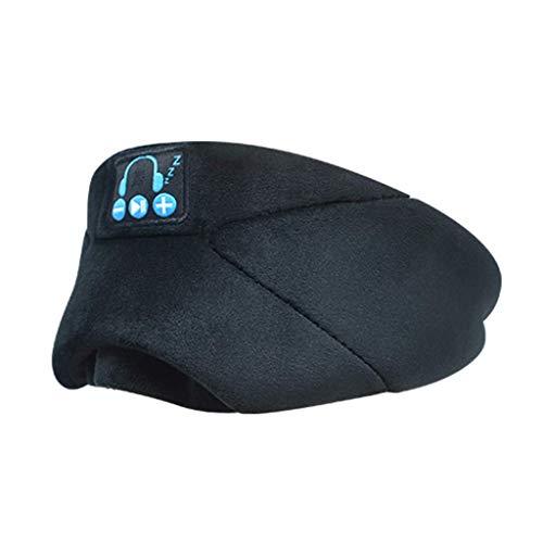 Lzcat Bluetooth Schlafmaske mit kabellosem Bluetooth-Musik-Headset mit verstellbarem eingebautem Lautsprecher und Mikrofon, waschbar, perfekt für Reisen und Schlafen (schwarz)