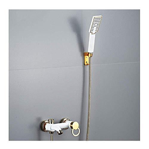 FGVBC Badewannenarmatur mit 3-Spray-Handbrause Wandbrausegarnitur Einhebel-Badewannen-Dusche-Mischbatterien Messing Wannenfüller Wasserhahn mit heißem und kaltem Wasser, Haken-Design, Weißgold