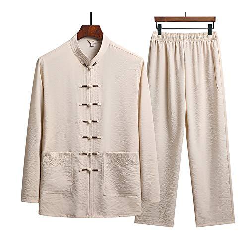 KSGH Uniformes de artes marciales de manga larga para hombre, uniforme de tai chi, chaqueta de ropa, abrigos y pantalones tradicionales chinos Kung Fu