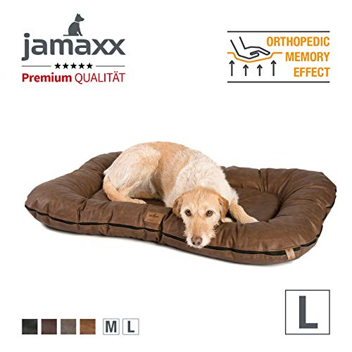 JAMAXX Premium Vintage Kunstleder Hunde-Kissen - Orthopädische Memory Visco Füllung, Dicke Polsterung, Hundematte PDB1020 (L) 110x75 Vintage Braun