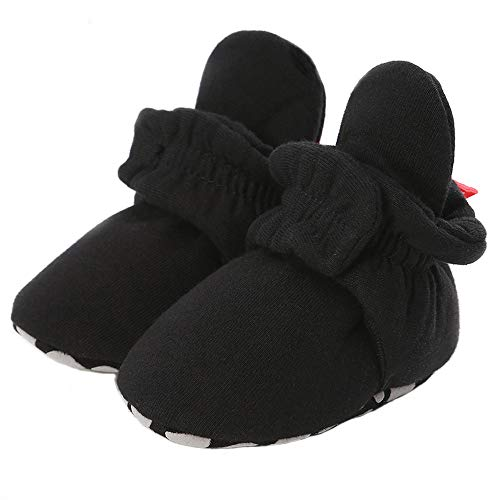 Methee Newborn Baby Boys Girls Booties Stay On Sock Slippers Soft Sole Crib Shoes Infant Toddler Winter Boots,Black 3-6 Months Infant