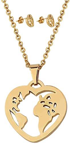 ZGYFJCH Co.,ltd Collar Tiny Love Corazón Collar Pendientes Conjuntos Globo de Acero Inoxidable Mapa Mundial Conjunto Joyería Joyería de Viaje Regalo