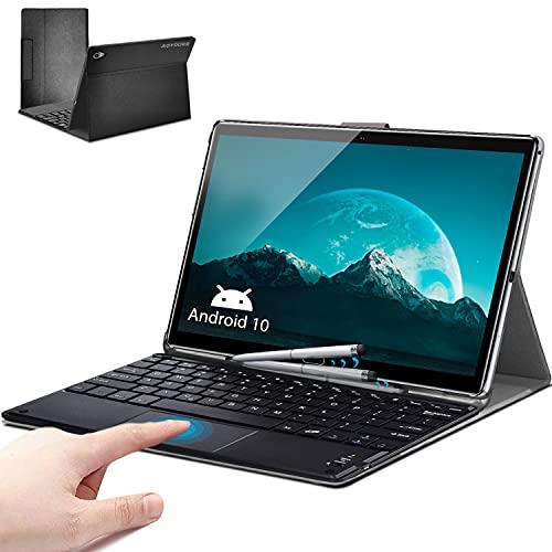 Tablet 10.8 Pulgadas 10 Núcleos - 5G WiFi Android 10.0 Tableta 6GB RAM 128GB ROM con Android 10.0 2.3 GHz | Face ID | Tarjeta SIM Dual | GPS | OTG | MicroSD 6-512 GB, Funda de Tablet - Gris