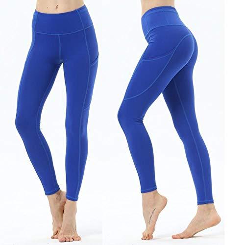 HPPLPocket Solid Sports Yoga broek Hoge taille mesh sportlegging Fitness Dames yoga legging Training hardloopbroek Sportkleding, lichtblauw-lang, L