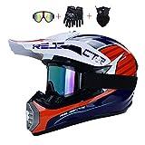 DNACC Jugend Motocross Helm Kinder-Cross Helme 4 Luftaustritt Off Road Schutzhelm ATV MTB Downhill Fahrradhelme mit Handschuhe+Brille+Maske Kit Fullface Helme 4 Jahreszeiten Unisex(S/M/L/XL),L