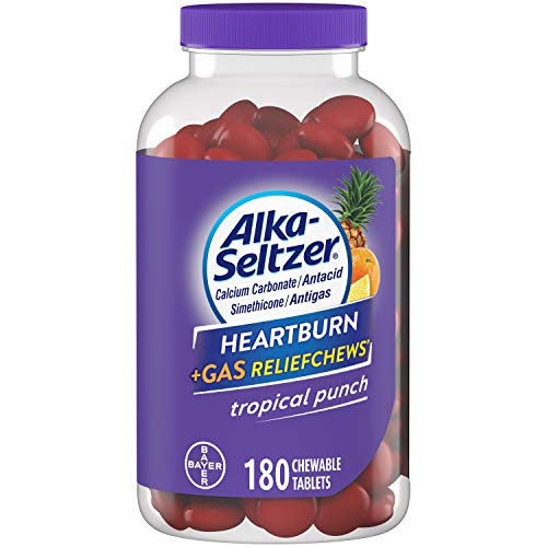 Alka-Seltzer Heartburn Relief and Gas Relief Chews Antacid Tablets for Acid Indigestion Bloating and Pressure, 180 Count, Tropical Punch