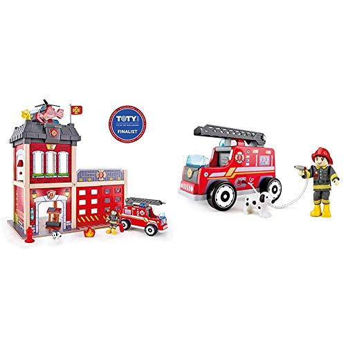 Hape Fire Station Playset| Wooden Dollhouse Kid's Toy, Stimulates Key Motor Skills and Promotes Team Play (E3023) & Fire Truck Playset| Wooden Fire Engine Toy with Action Figure & Rescue Dog