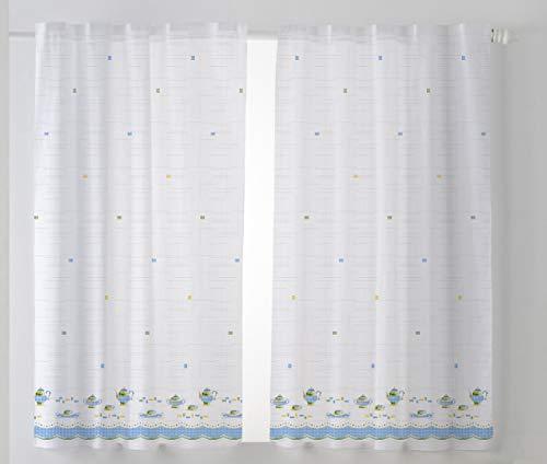 Cardenal Textil Tazas Cortina Cocina Visillo, Tela, Azul, Pack 2 100 x 140 cm