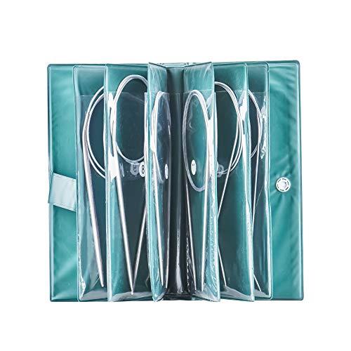 11 agujas de tejer circulares, 80 cm, ganchos de ganchillo de acero inoxidable, tamaños de 1,5 mm a 5 mm, herramientas de costura