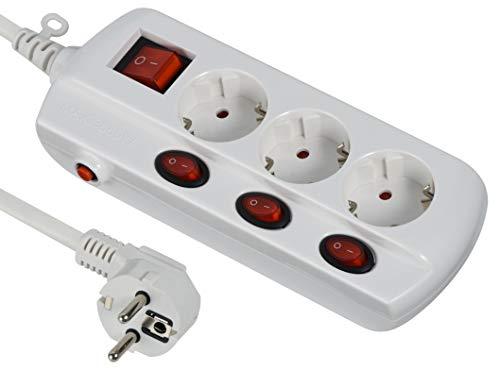 Electraline 62500 Power Extension Ciabatta Multipresa Interruttore Generale - Sezione 3 G1 mm2 Cavo 1.5 m Bianco, 62500