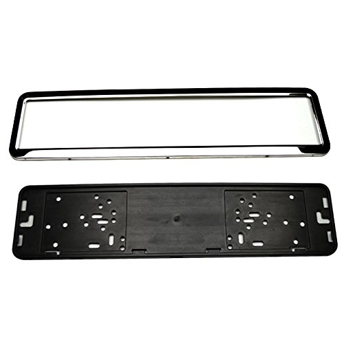 European 53 x 13 cm Stainless Steel Car License Plate Frame Holder With Four Screws Vehicle Sliver/Black Car Styling (Silver)