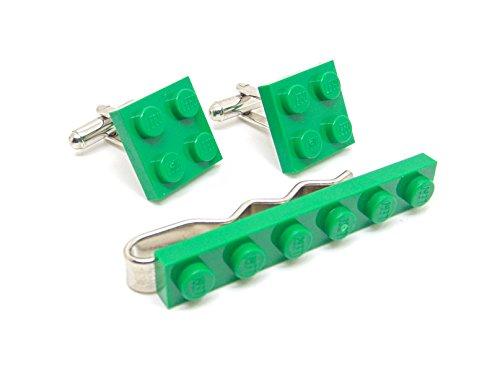 Vert authentique Lego plaque Pince à cravate et boutons de manchette – Funky rétro Cool Boutons de manchette fabriqué par Jeff Jeffers