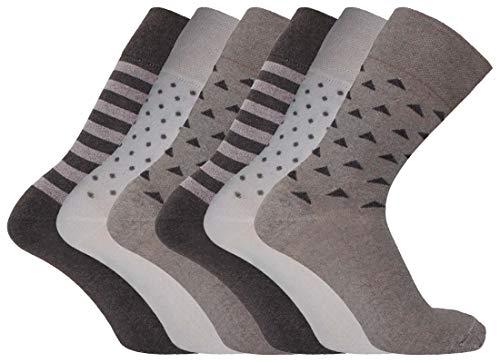 12 pares de calcetines de algodón para hombre con parte superior suelta para diabéticos, no elásticos, color marrón, diseño de rayas triangulares surtidos, tamaño 6-11