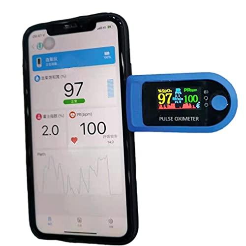 GSDJU Oximetro Dedo Con Saturacion Oxigeno Medidor De En Sangre Oxigenometro Aparato Para Medir SaturacióN Pulxiometro Saturador Oxiometros Profesional Pulsioximetro Azul (versión Bluetooth) 🔥
