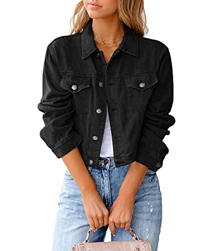 Eghunooye Damen Jeansjacke Reverskragen Kurz Lässig Denim Jacket mit Knöpfen Stretch Jacke Sommer Frühling Mantel Coat Outwear S M L XL XXL (Schwarz, Medium)