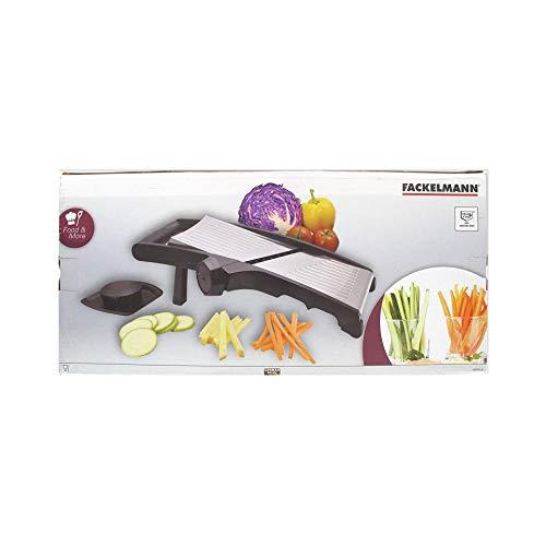 Fackelmann 685506 Mandoline professionnelle, mandoline manuelle, tranche légumes, mandoline pour légumes, Plastique, Acier inoxydable, Noir, 38 x 12 x 12 cm