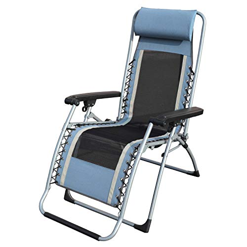 Caravan Sports OGL01021 OG Lounger Zero Gravity Chair, Blue/Gray with Carry Strap