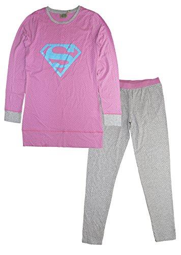 DC Comics Damen Superman Zweiteiliger Schlafanzug, Rose, 38