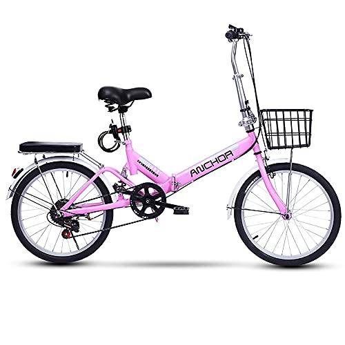 COKECO Bicicleta Plegable Bikes,Hombres Y Mujeres Adultos 20 Pulgadas Ultraligero 7 Velocidades Velocidad Variable Portátil Ligero Marco Sólido Bicicleta De Montaña con Frenado Sensible