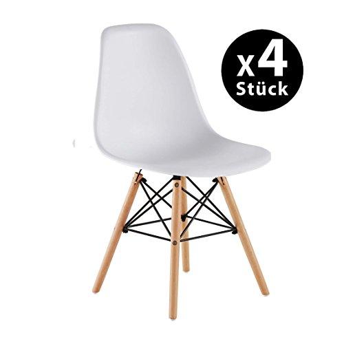 Naturelifestore 4 x Designer Kunststoff Stuhl Polypropylen und ausBuchenholz,Wohnzimmerstuhl Esszimmerstuhl Bürostuhl,Weiß