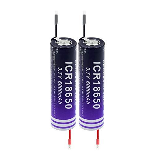 TTCPUYSA 3.7v 18650 6000mah Reemplazo De BateríAs De Litio Recargables De Iones De Litio, Celda para Equipo De Audio Mini Ventilador De CáMara Linterna 2pieces