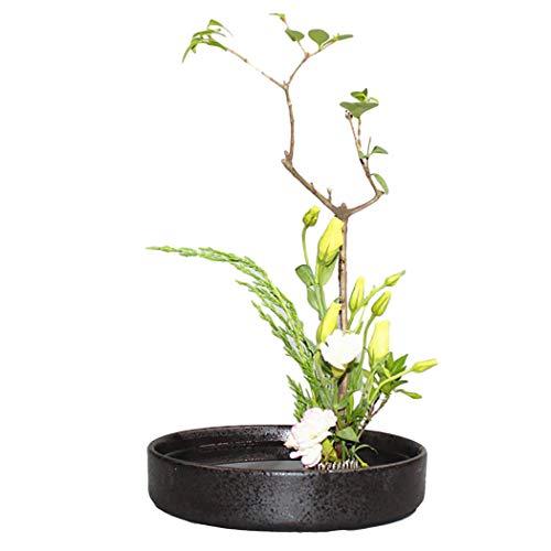 JUSTDOLIFE Pot di Ceramica del Vaso Basso Rotondo Decorativo di Ceramica della piantatrice per la Disposizione dei Fiori