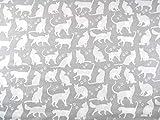 Stoffschreinerei Baumwollstoff (Katzen weiß auf grau)