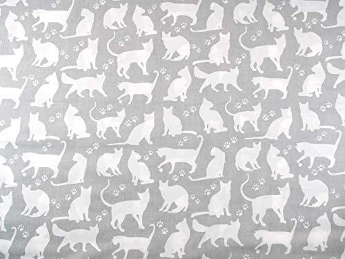 Stoffschreinerei Baumwollstoff (Katzen weiß auf grau) Handmade nähen Meterware 100% Baumwolle (1m x 1.60m)