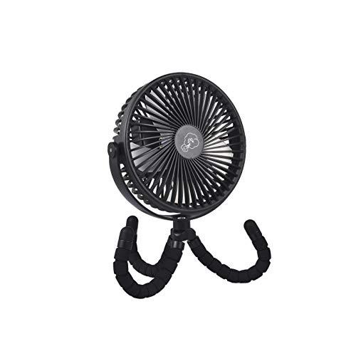Mini ventilador USB silencioso, ventilador de mesa, ventilador de mano, pequeño | rotación de 360°, 3 niveles de velocidad, iluminación LED, 10000 mAh | para cochecito, oficina, coche, camping (negro)
