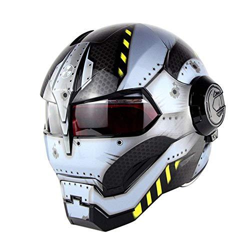 Yhongyang Super Personalidad Casco de Moto Iron Man Casco Integral Estilo Retro Harley Transformers Cara Casco,Gris,L