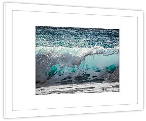 GaviaStore Art Prints - Mar B - con Marco 70x50 cm - Cuadros Impresiones Pintura Cartel Foto Mueble hogar impresión decoración casa Sala Poster Cuadro Imagen Enmarcado Wall Picture