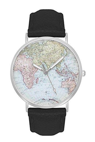 New Trend Unisex Armbanduhr Damen-Uhr Herren-Uhr Analog Quarzwerk Kunst-Leder-Armband Chronograph mit Dornschließe Weltkarte