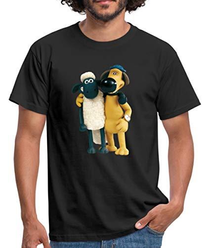 Shaun Das Schaf Und Hund Bitzer Freunde Männer T-Shirt, L, Schwarz