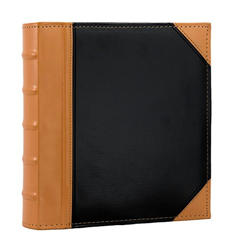 """Executive Binder, English Leather 2 Tone with Stitching and Ribbed Spine, Heavy Duty 1.1/2"""" Inch 3 D-Ring with Buster, Holds 350 8.5""""x 11"""" Sheets (Camel)"""