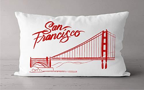Toll2452 Almohada de puente de San Francisco Golden Gate rojo y blanco, funda de almohada roja y dorada Puente de puerta dibujada a mano puente de puerta dorada de viaje funda de almohada de viaje