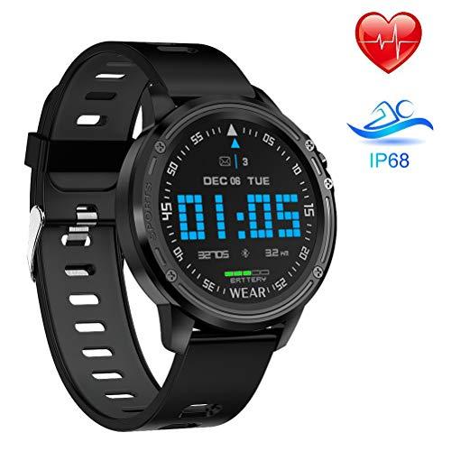 Smart Watch L8,Reloj Inteligente con Pantalla táctil Redonda Reloj Inteligente de Actividad física para Hombres y Mujeres, podómetro para medir la presión Arterial, para iOS y Android