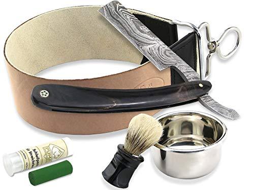 Damast Rasiermesser-Set mit Leder-Abziehleder - Paste aus Solingen