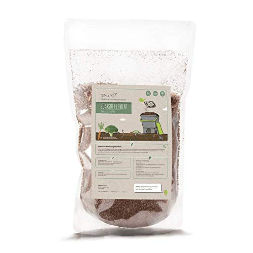 DIMIKRO Bokashi Ferment - Bio Qualität 1 Kg Fermentationshilfe für Bokashi Eimer und Kompost - Eliminiert Gerüche, Schimmel & Fäulnis - 100% Vegan & natürlich mit Effektiven Mikroorganismen