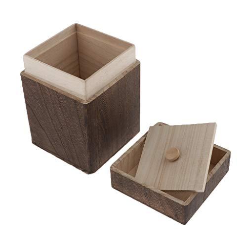 Hellery Holzkiste mit Deckel Kanister für Kaffee Tee Süßigkeiten Lagerung Loseblatt Tee Fall Behälter Lagerung