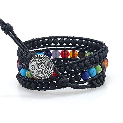 PLTGOOD Leather 3 Wraps Chakra Beads Bracelet Adjustable Yoga Healing Handmade Bracelet Bangle for Woman Girls - Lava Stone + 7 Chakras Beads