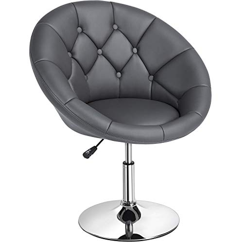 Yaheetech Height Adjustable Modern Round Tufted Back Chair Upholstered Swivel Barrel Chair Vanity Chair Barstool Lounge Pub Bar Capable of 125kgs/276lbs White (Dark Gray)